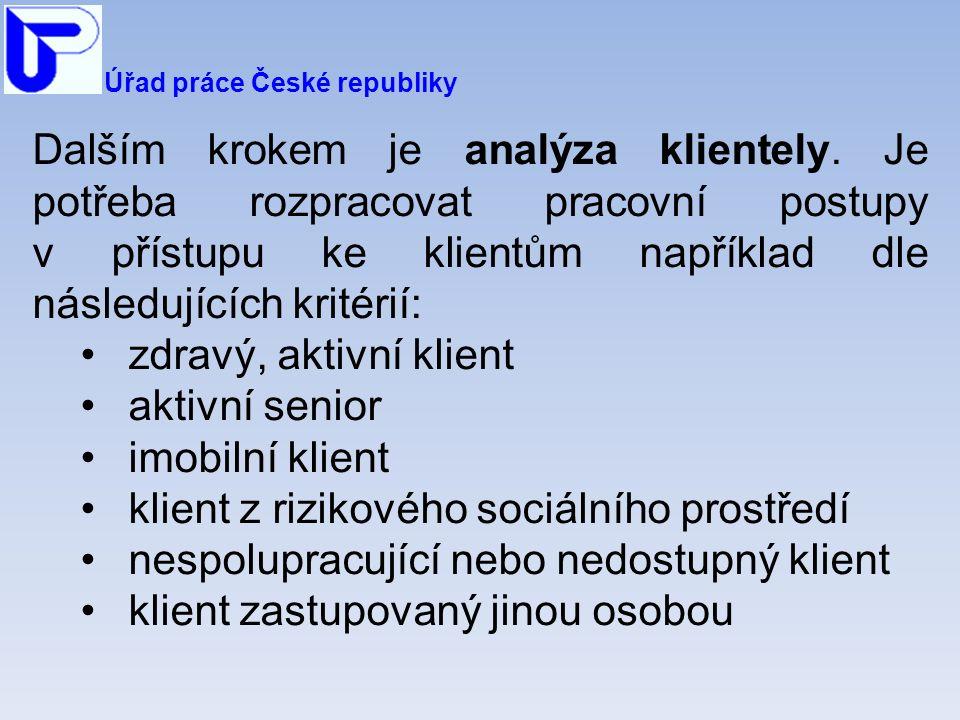Úřad práce České republiky Dalším krokem je analýza klientely.