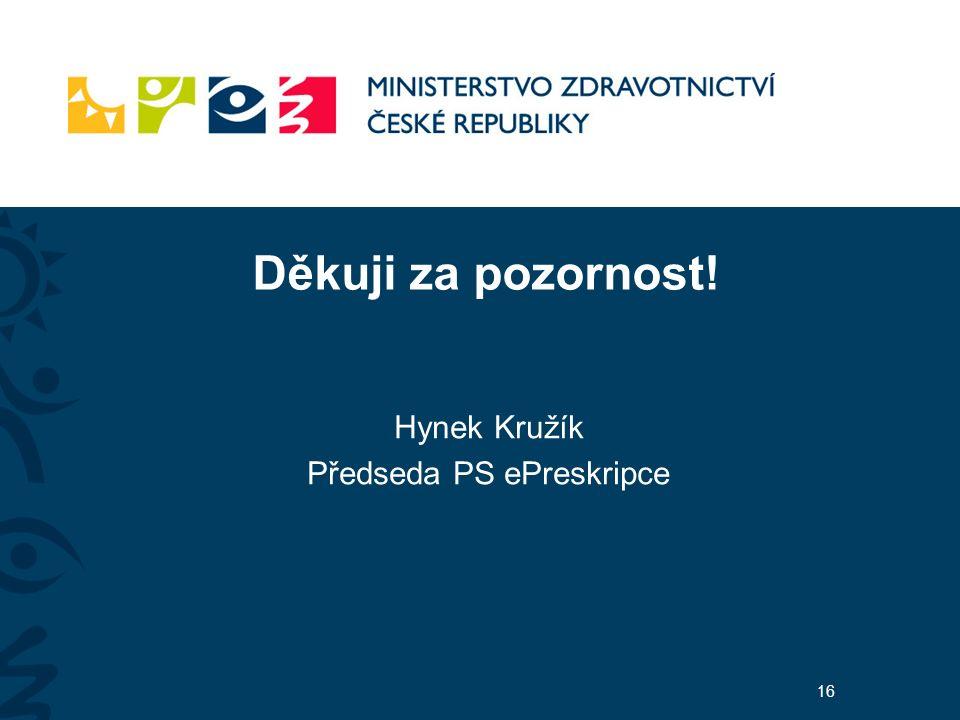 Děkuji za pozornost! Hynek Kružík Předseda PS ePreskripce 16