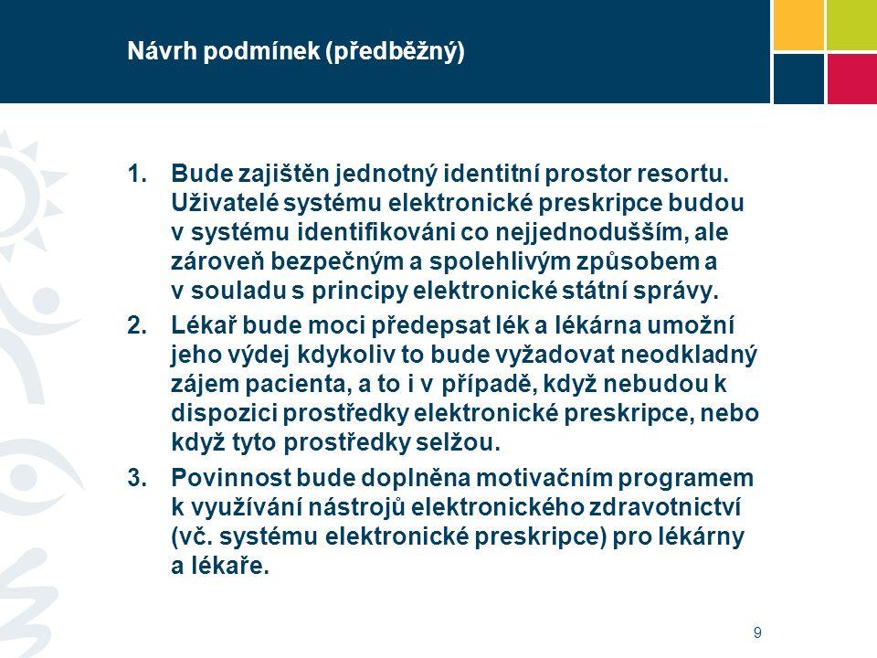 Návrh podmínek (předběžný) 1.Bude zajištěn jednotný identitní prostor resortu. Uživatelé systému elektronické preskripce budou v systému identifikován