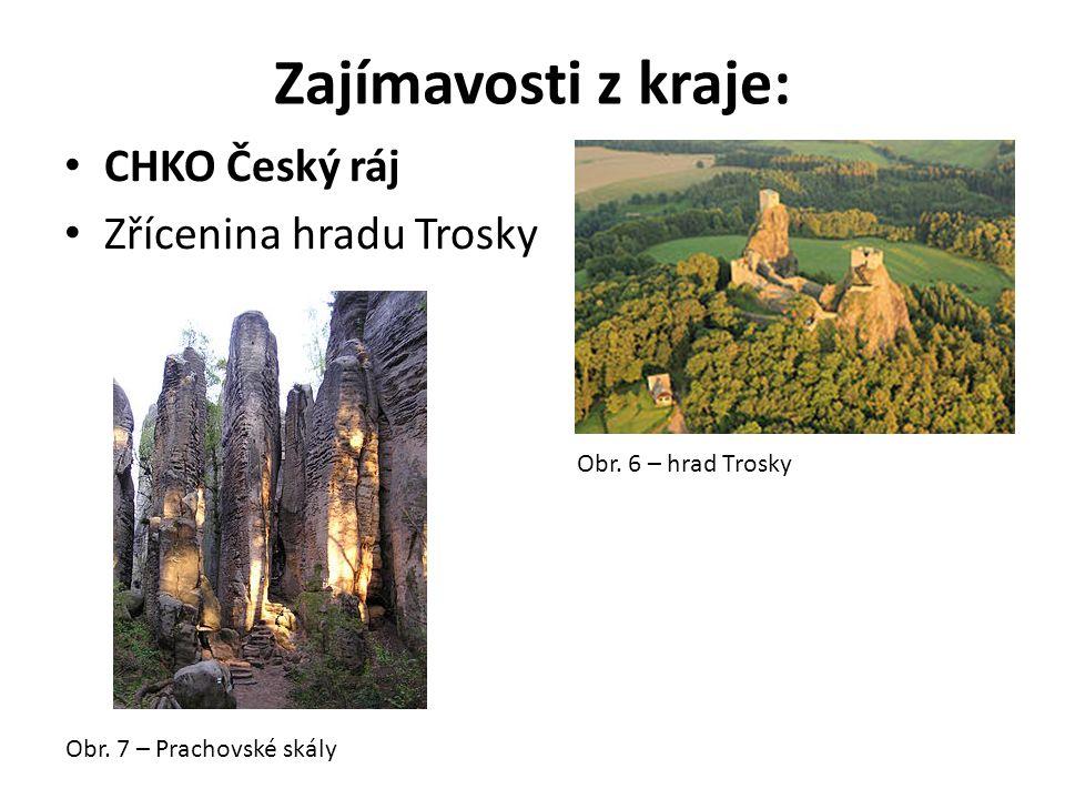 Zajímavosti z kraje: CHKO Český ráj Zřícenina hradu Trosky Obr. 6 – hrad Trosky Obr. 7 – Prachovské skály