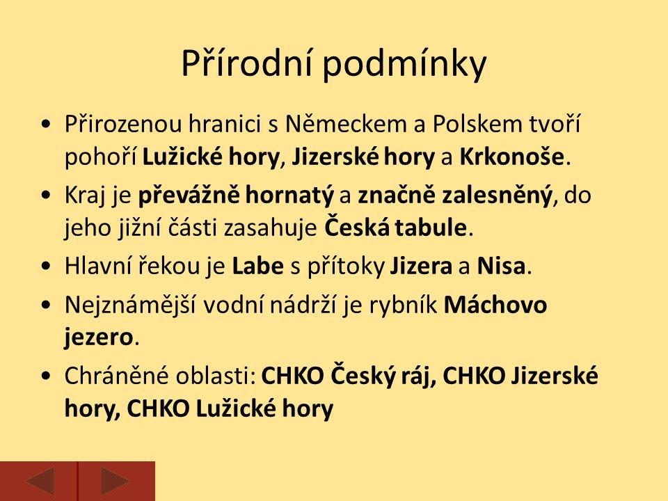 Přirozenou hranici s Německem a Polskem tvoří pohoří Lužické hory, Jizerské hory a Krkonoše.