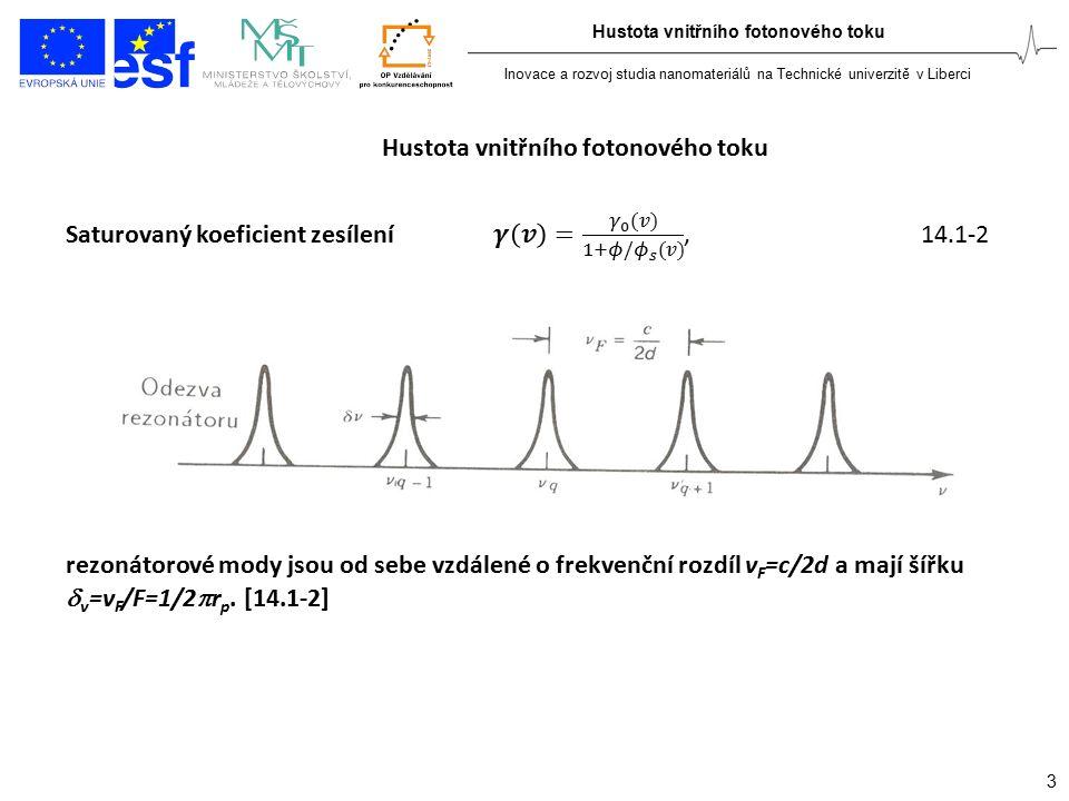 Inovace a rozvoj studia nanomateriálů na Technické univerzitě v Liberci 3 Hustota vnitřního fotonového toku rezonátorové mody jsou od sebe vzdálené o