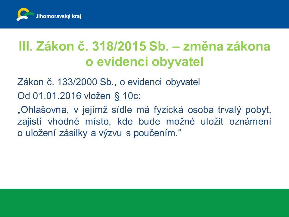 III. Zákon č. 318/2015 Sb. – změna zákona o evidenci obyvatel Zákon č.