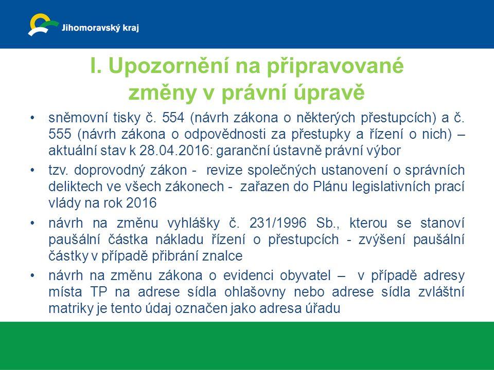 I. Upozornění na připravované změny v právní úpravě sněmovní tisky č.