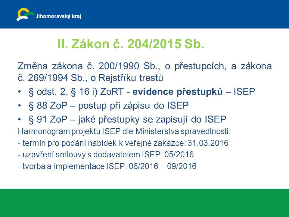 II. Zákon č. 204/2015 Sb. Změna zákona č. 200/1990 Sb., o přestupcích, a zákona č.