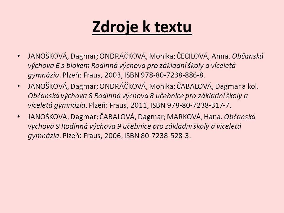 Zdroje k textu JANOŠKOVÁ, Dagmar; ONDRÁČKOVÁ, Monika; ČECILOVÁ, Anna.
