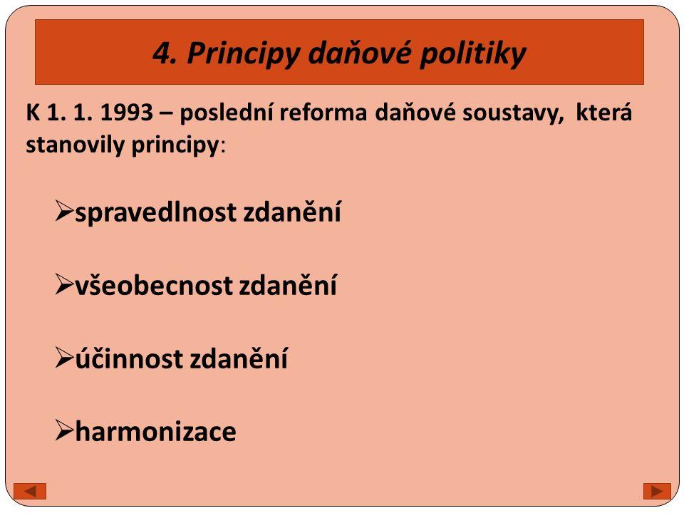 4. Principy daňové politiky  spravedlnost zdanění  všeobecnost zdanění  účinnost zdanění  harmonizace K 1. 1. 1993 – poslední reforma daňové soust