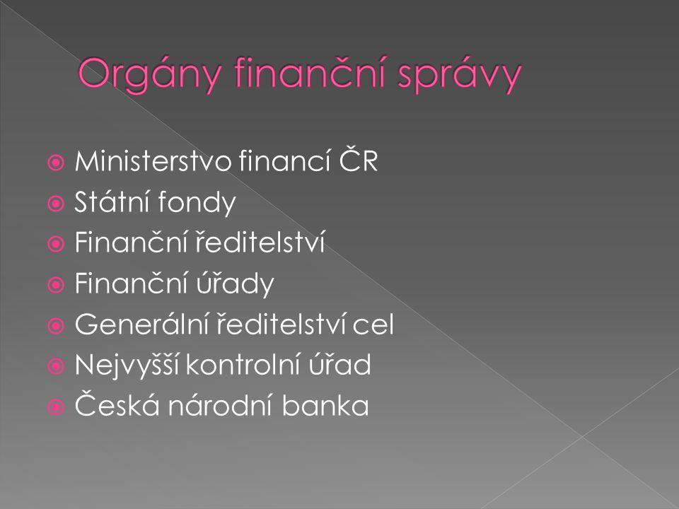  Ministerstvo financí ČR  Státní fondy  Finanční ředitelství  Finanční úřady  Generální ředitelství cel  Nejvyšší kontrolní úřad  Česká národní banka