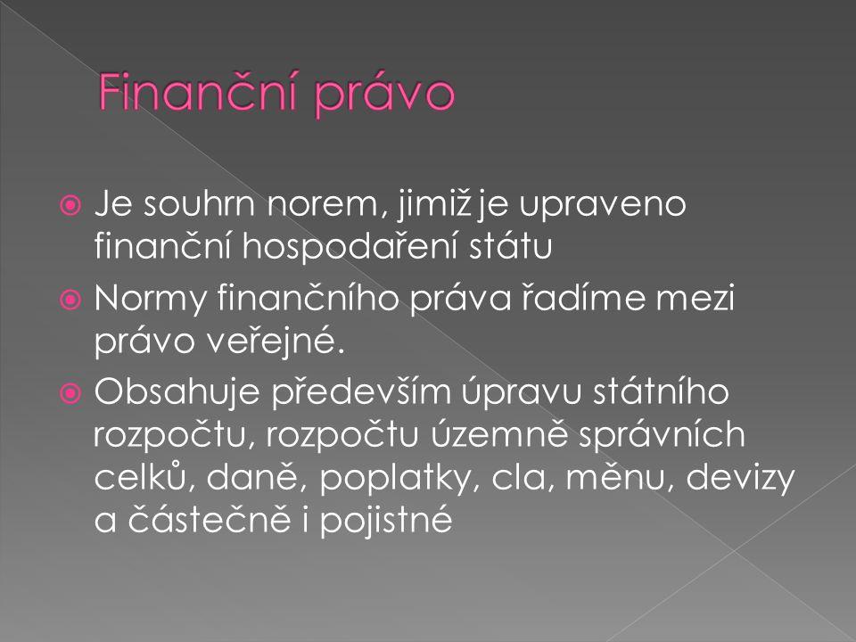  Je souhrn norem, jimiž je upraveno finanční hospodaření státu  Normy finančního práva řadíme mezi právo veřejné.