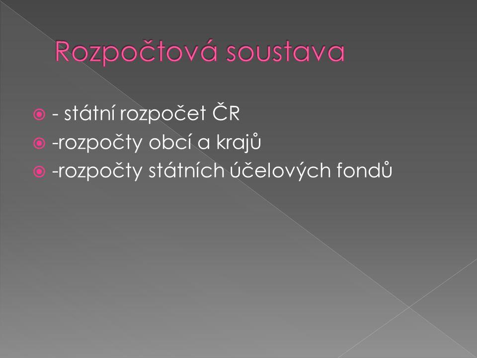  - státní rozpočet ČR  -rozpočty obcí a krajů  -rozpočty státních účelových fondů