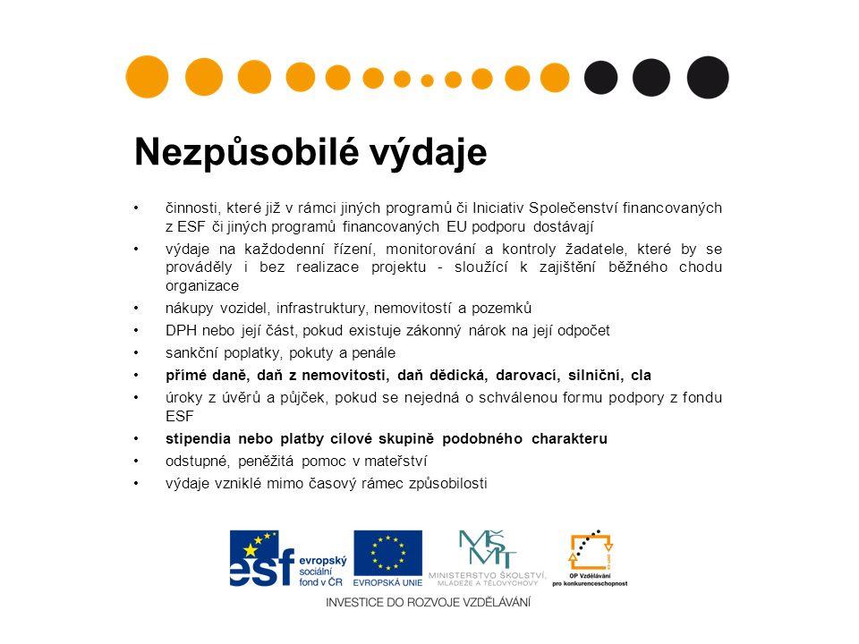 Nezpůsobilé výdaje činnosti, které již v rámci jiných programů či Iniciativ Společenství financovaných z ESF či jiných programů financovaných EU podporu dostávají výdaje na každodenní řízení, monitorování a kontroly žadatele, které by se prováděly i bez realizace projektu - sloužící k zajištění běžného chodu organizace nákupy vozidel, infrastruktury, nemovitostí a pozemků DPH nebo její část, pokud existuje zákonný nárok na její odpočet sankční poplatky, pokuty a penále přímé daně, daň z nemovitosti, daň dědická, darovací, silniční, cla úroky z úvěrů a půjček, pokud se nejedná o schválenou formu podpory z fondu ESF stipendia nebo platby cílové skupině podobného charakteru odstupné, peněžitá pomoc v mateřství výdaje vzniklé mimo časový rámec způsobilosti