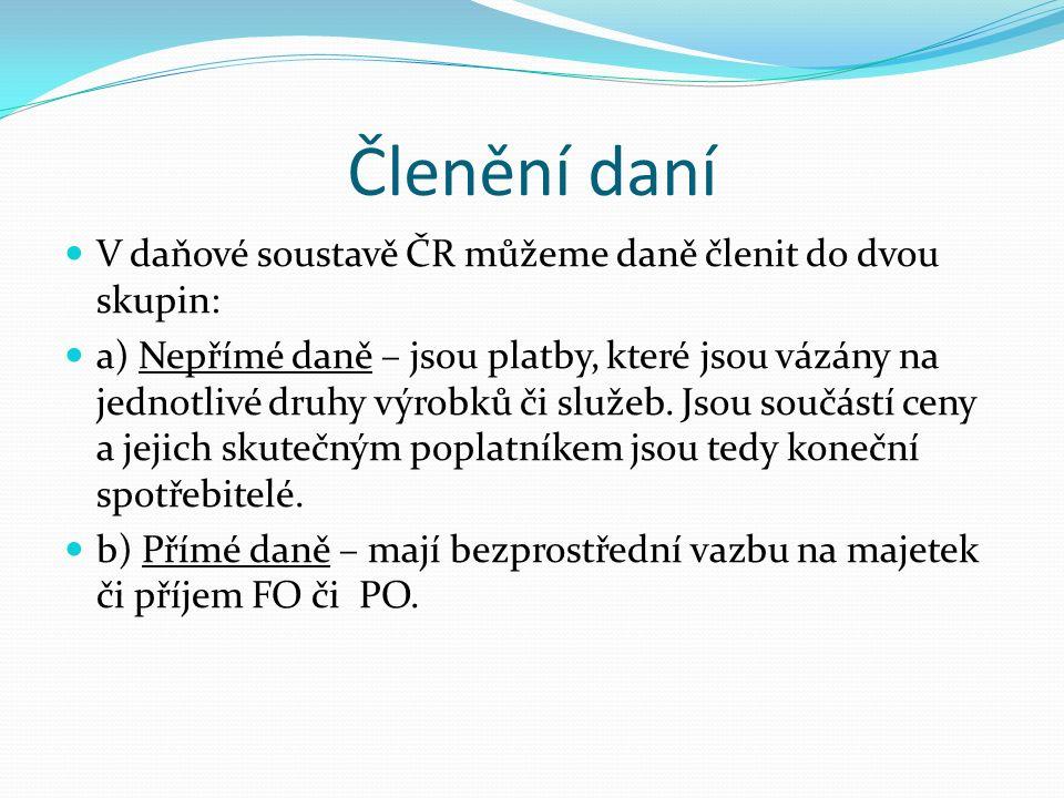 Členění daní V daňové soustavě ČR můžeme daně členit do dvou skupin: a) Nepřímé daně – jsou platby, které jsou vázány na jednotlivé druhy výrobků či s