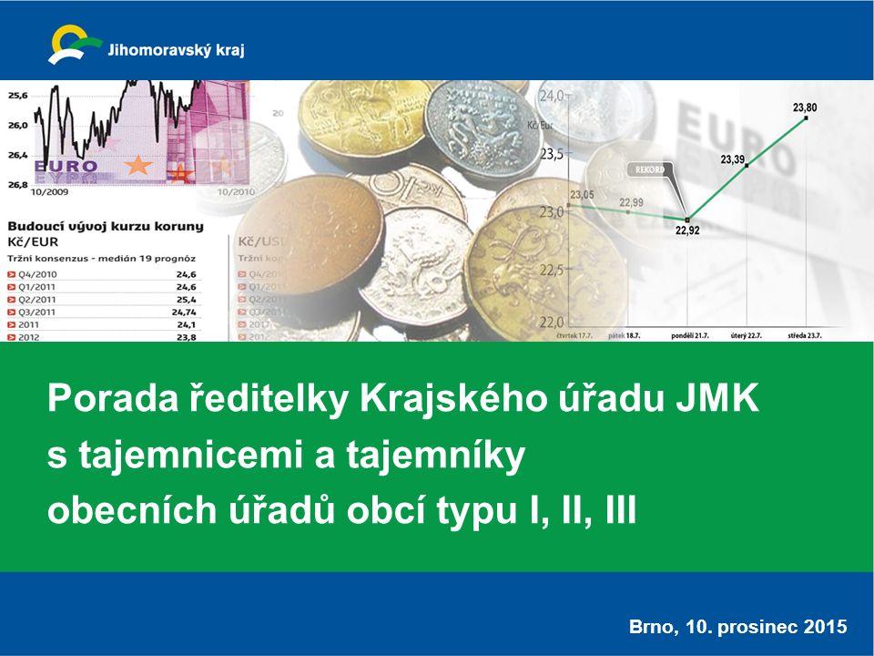 Porada ředitelky Krajského úřadu JMK s tajemnicemi a tajemníky obecních úřadů obcí typu I, II, III Brno, 10.