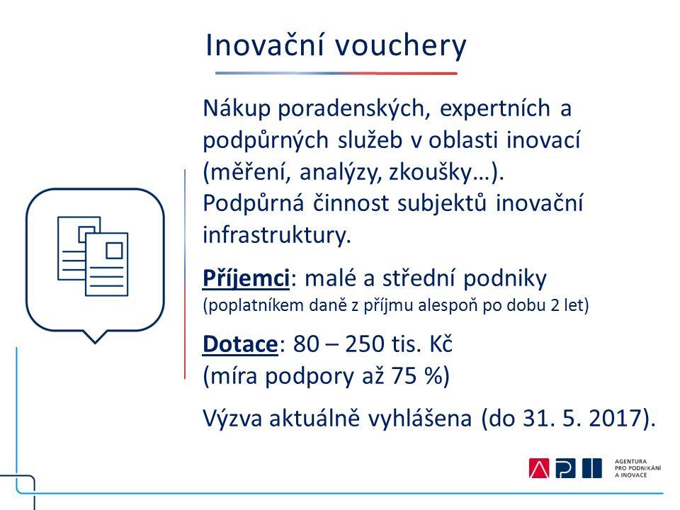 Inovační vouchery Nákup poradenských, expertních a podpůrných služeb v oblasti inovací (měření, analýzy, zkoušky…).