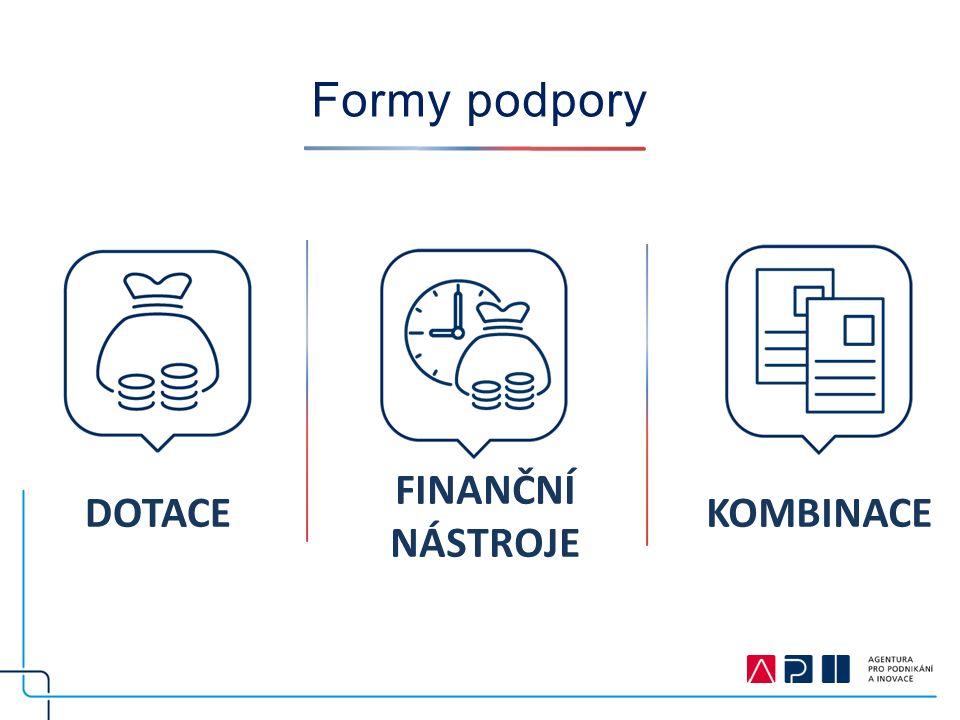 Formy podpory FINANČNÍ NÁSTROJE DOTACEKOMBINACE