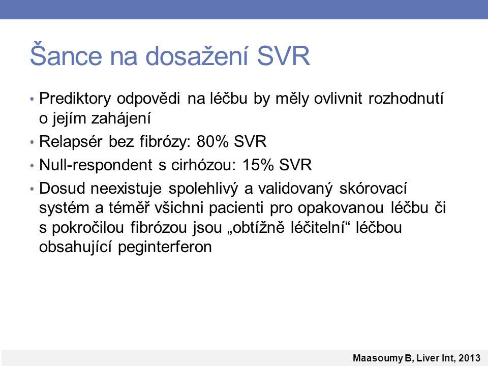 """Šance na dosažení SVR Prediktory odpovědi na léčbu by měly ovlivnit rozhodnutí o jejím zahájení Relapsér bez fibrózy: 80% SVR Null-respondent s cirhózou: 15% SVR Dosud neexistuje spolehlivý a validovaný skórovací systém a téměř všichni pacienti pro opakovanou léčbu či s pokročilou fibrózou jsou """"obtížně léčitelní léčbou obsahující peginterferon Maasoumy B, Liver Int, 2013"""