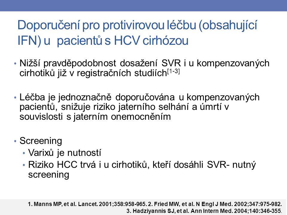 Doporučení pro protivirovou léčbu (obsahující IFN) u pacientů s HCV cirhózou Nižší pravděpodobnost dosažení SVR i u kompenzovaných cirhotiků již v registračních studiích [1-3] Léčba je jednoznačně doporučována u kompenzovaných pacientů, snižuje riziko jaterního selhání a úmrtí v souvislosti s jaterním onemocněním Screening Varixů je nutností Riziko HCC trvá i u cirhotiků, kteří dosáhli SVR- nutný screening 1.