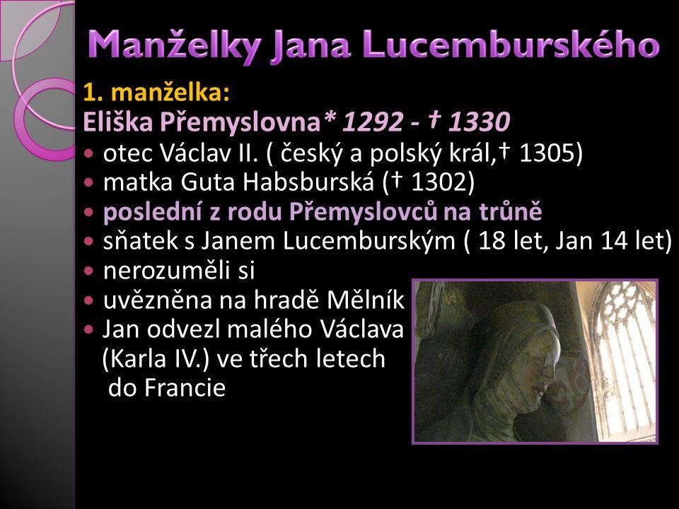 1. manželka: Eliška Přemyslovna* 1292 - † 1330 otec Václav II. ( český a polský král,† 1305) matka Guta Habsburská († 1302) poslední z rodu Přemyslovc