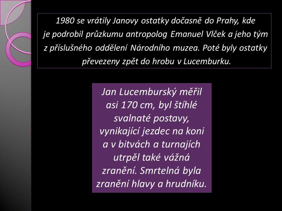 1980 se vrátily Janovy ostatky dočasně do Prahy, kde je podrobil průzkumu antropolog Emanuel Vlček a jeho tým z příslušného oddělení Národního muzea.