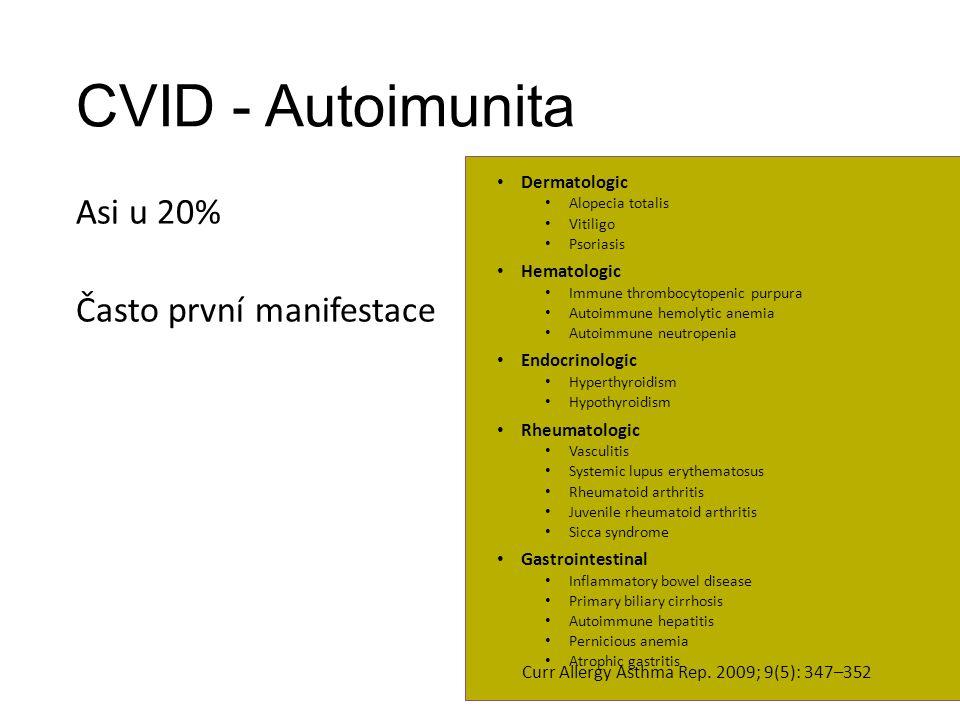 CVID - Autoimunita Asi u 20% Často první manifestace Dermatologic Alopecia totalis Vitiligo Psoriasis Hematologic Immune thrombocytopenic purpura Auto