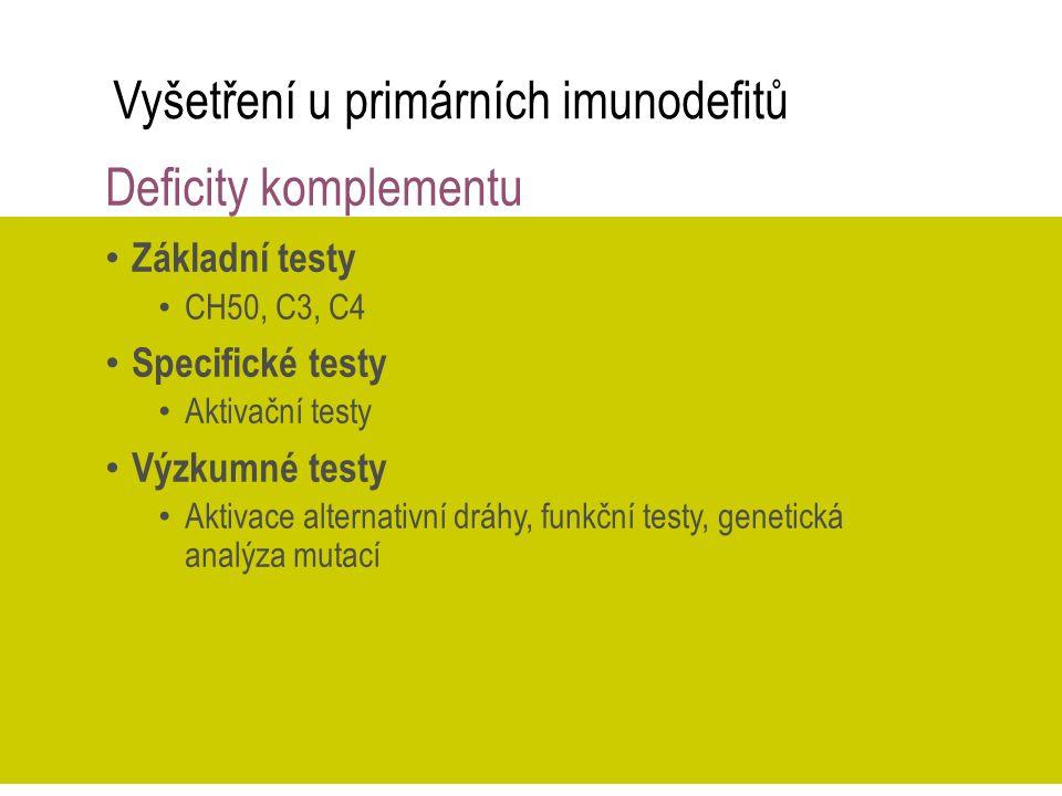 Vyšetření u primárních imunodefitů Deficity komplementu Základní testy CH50, C3, C4 Specifické testy Aktivační testy Výzkumné testy Aktivace alternati