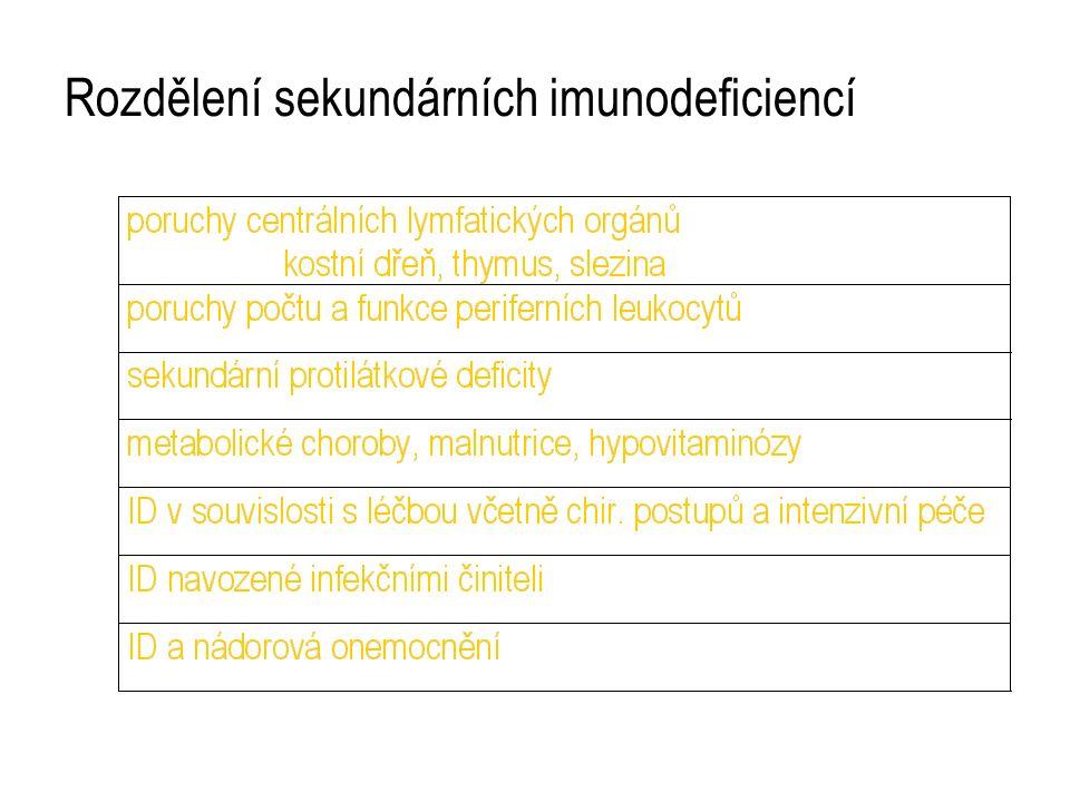 Rozdělení sekundárních imunodeficiencí