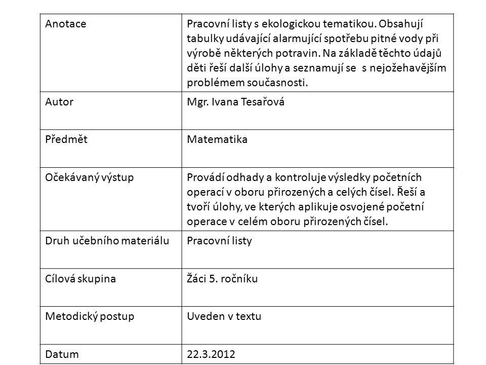 AnotacePracovní listy s ekologickou tematikou. Obsahují tabulky udávající alarmující spotřebu pitné vody při výrobě některých potravin. Na základě těc