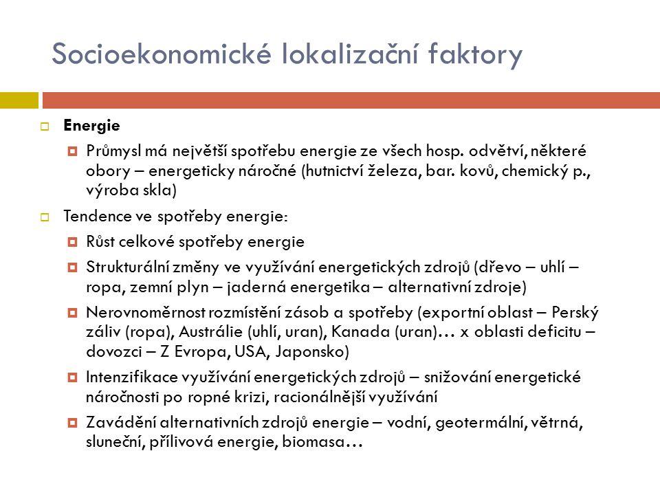 Socioekonomické lokalizační faktory  Energie  Průmysl má největší spotřebu energie ze všech hosp. odvětví, některé obory – energeticky náročné (hutn