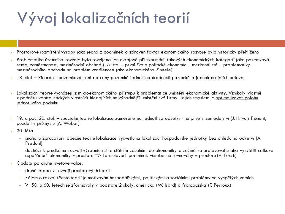 Speciální lokalizační teorie  Lokalizace zemědělské výroby – J.