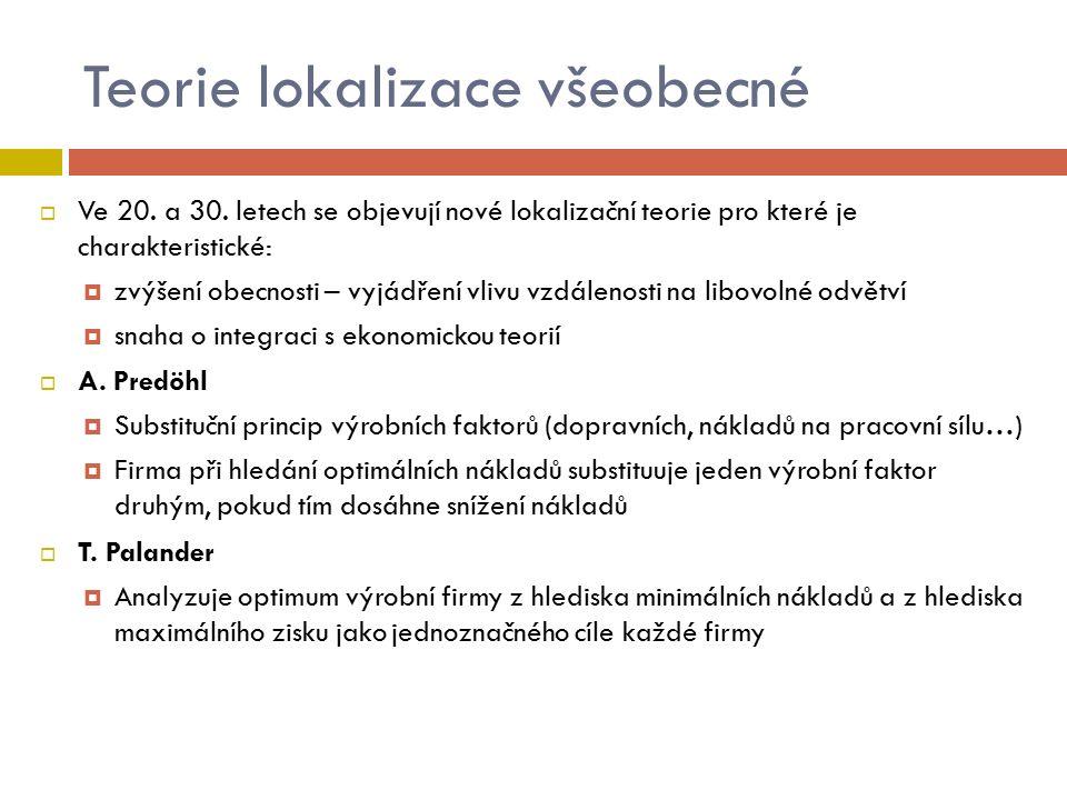 Teorie lokalizace všeobecné  Ve 20. a 30.