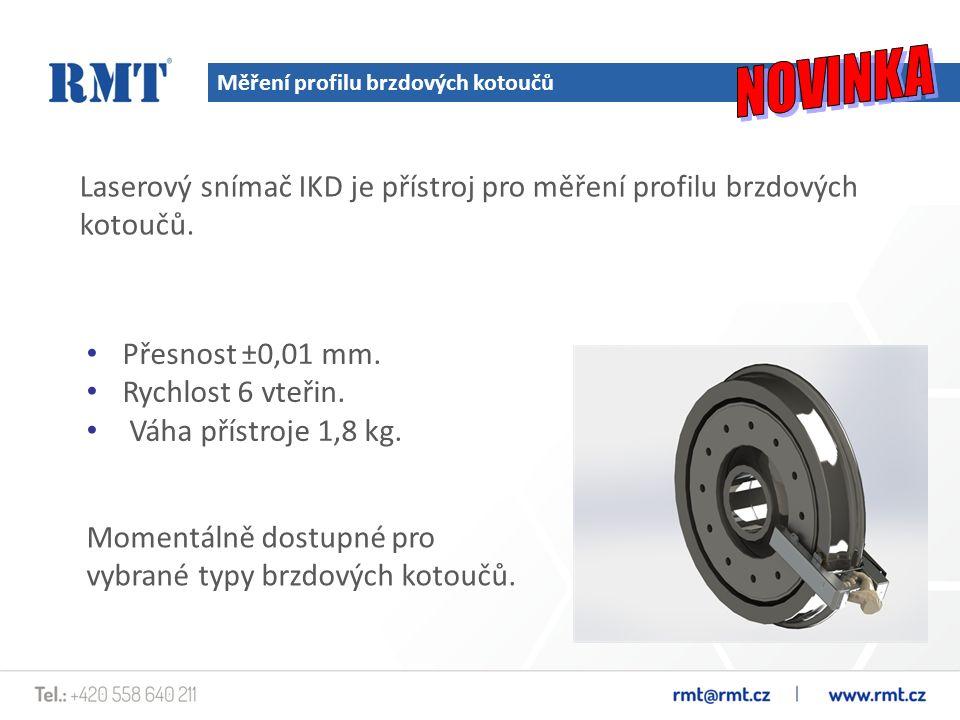 Měření profilu brzdových kotoučů Laserový snímač IKD je přístroj pro měření profilu brzdových kotoučů. Přesnost ±0,01 mm. Rychlost 6 vteřin. Váha přís