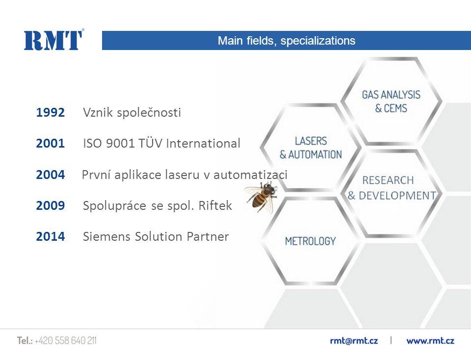 Main fields, specializations 1992Vznik společnosti 2001ISO 9001 TÜV International 2004 První aplikace laseru v automatizaci 2009 Spolupráce se spol.