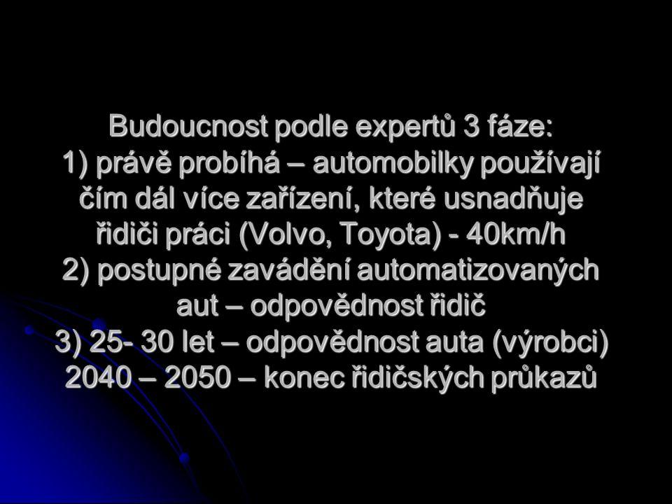 Budoucnost podle expertů 3 fáze: 1) právě probíhá – automobilky používají čím dál více zařízení, které usnadňuje řidiči práci (Volvo, Toyota) - 40km/h 2) postupné zavádění automatizovaných aut – odpovědnost řidič 3) 25- 30 let – odpovědnost auta (výrobci) 2040 – 2050 – konec řidičských průkazů