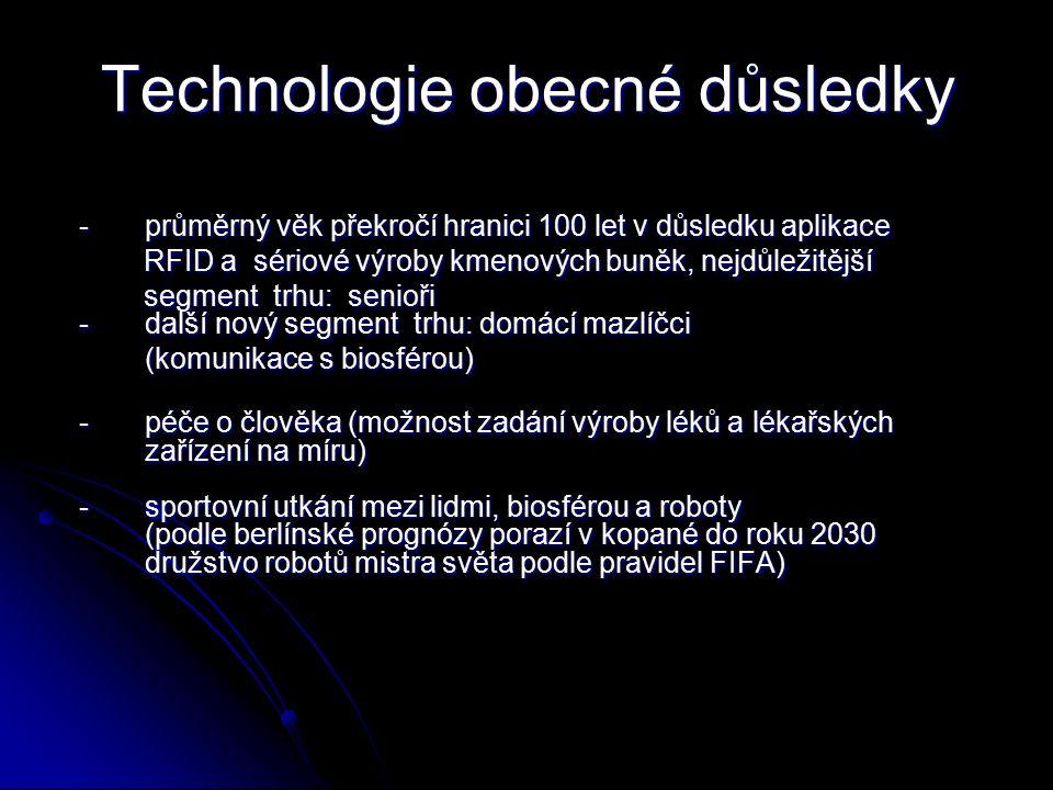 Technologie obecné důsledky Technologie obecné důsledky -průměrný věk překročí hranici 100 let v důsledku aplikace RFID a sériové výroby kmenových buněk, nejdůležitější RFID a sériové výroby kmenových buněk, nejdůležitější segment trhu: senioři - další nový segment trhu: domácí mazlíčci segment trhu: senioři - další nový segment trhu: domácí mazlíčci (komunikace s biosférou) -péče o člověka (možnost zadání výroby léků a lékařských zařízení na míru) -sportovní utkání mezi lidmi, biosférou a roboty (podle berlínské prognózy porazí v kopané do roku 2030 družstvo robotů mistra světa podle pravidel FIFA)