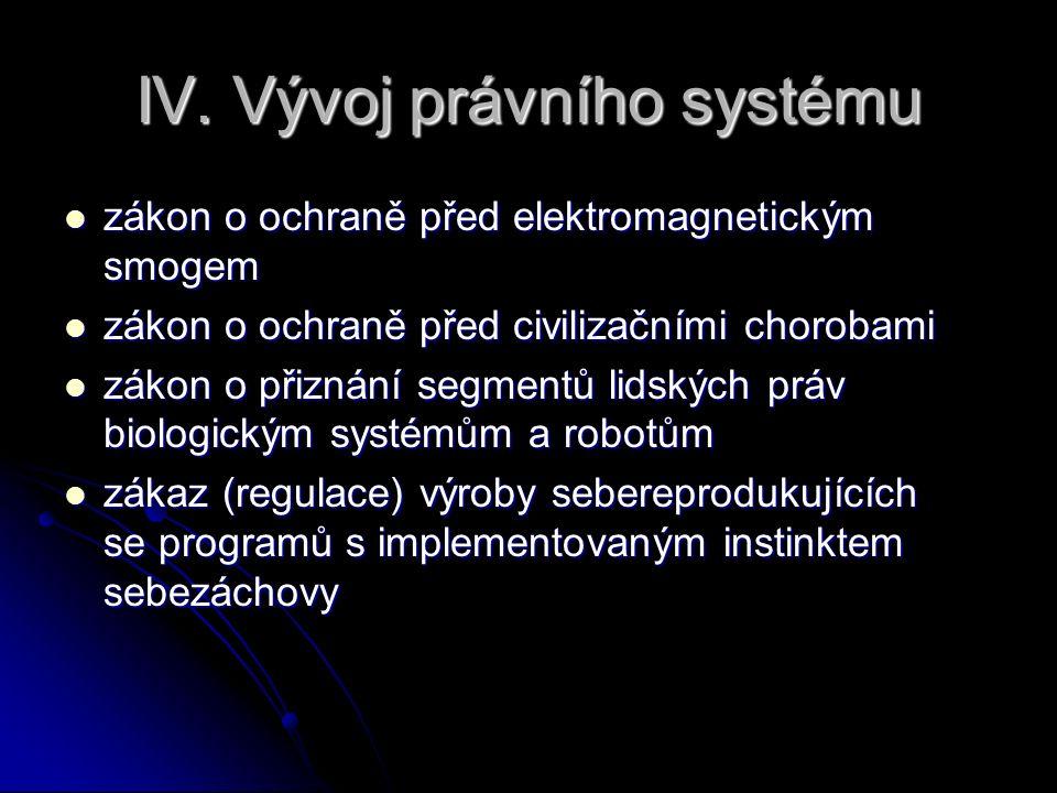 IV. Vývoj právního systému zákon o ochraně před elektromagnetickým smogem zákon o ochraně před elektromagnetickým smogem zákon o ochraně před civiliza