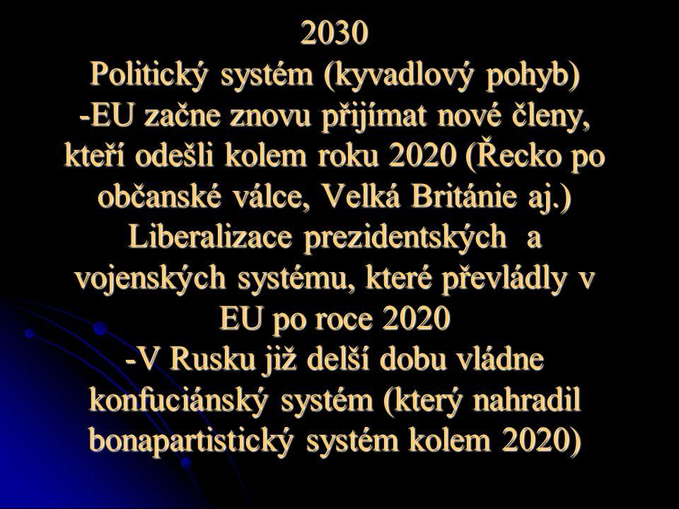 2030 Politický systém (kyvadlový pohyb) -EU začne znovu přijímat nové členy, kteří odešli kolem roku 2020 (Řecko po občanské válce, Velká Británie aj.) Liberalizace prezidentských a vojenských systému, které převládly v EU po roce 2020 -V Rusku již delší dobu vládne konfuciánský systém (který nahradil bonapartistický systém kolem 2020)