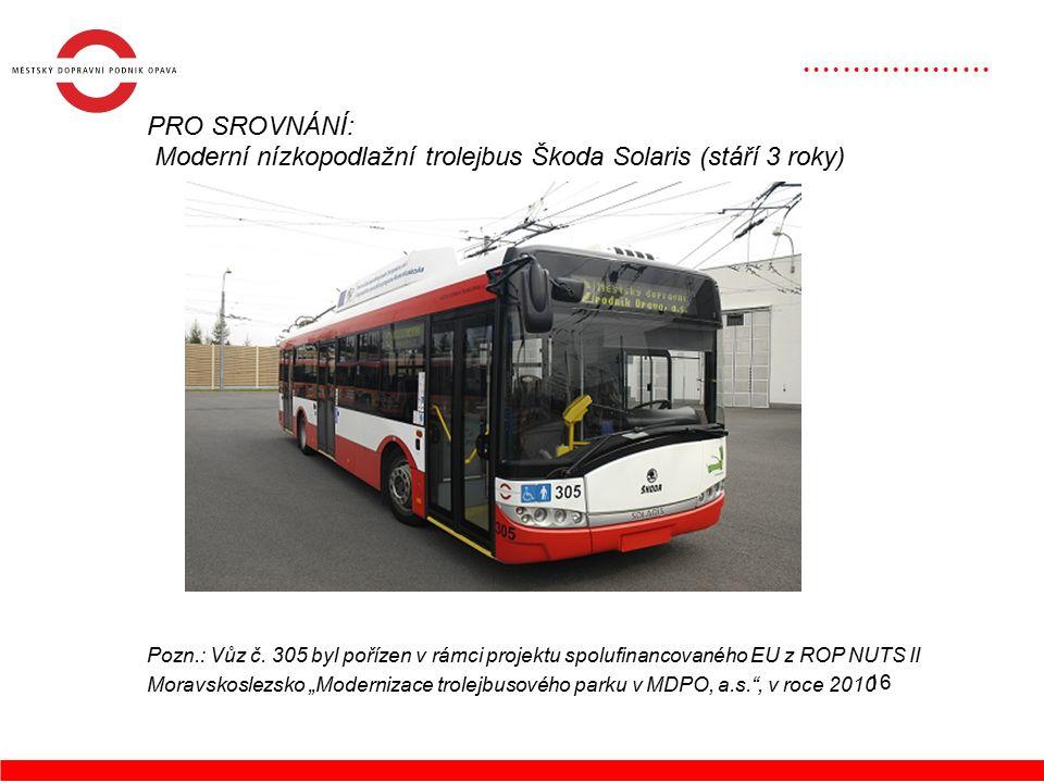 16 PRO SROVNÁNÍ: Moderní nízkopodlažní trolejbus Škoda Solaris (stáří 3 roky) Pozn.: Vůz č.