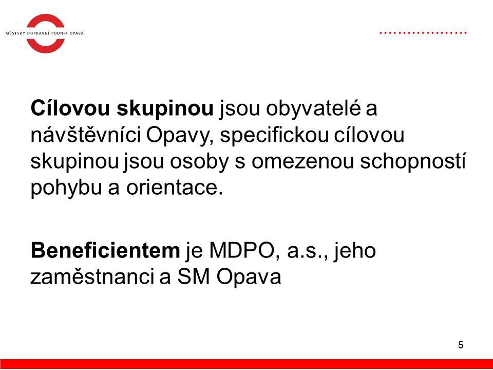 6 Hlavním cílem projektu je kromě doplnění požadovaného stavu vozového trolejbusového parku, především zkvalitnění dopravní infrastruktury veřejné hromadné dopravy v SM Opava, zvýšení dostupnosti pro osoby s omezenou schopností pohybu a orientace či zvýšení bezpečnosti přepravy.