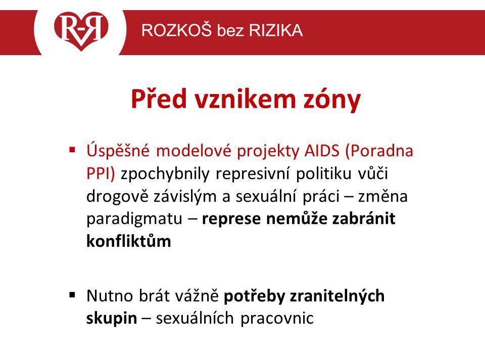 Před vznikem zóny  Úspěšné modelové projekty AIDS (Poradna PPI) zpochybnily represivní politiku vůči drogově závislým a sexuální práci – změna paradigmatu – represe nemůže zabránit konfliktům  Nutno brát vážně potřeby zranitelných skupin – sexuálních pracovnic.