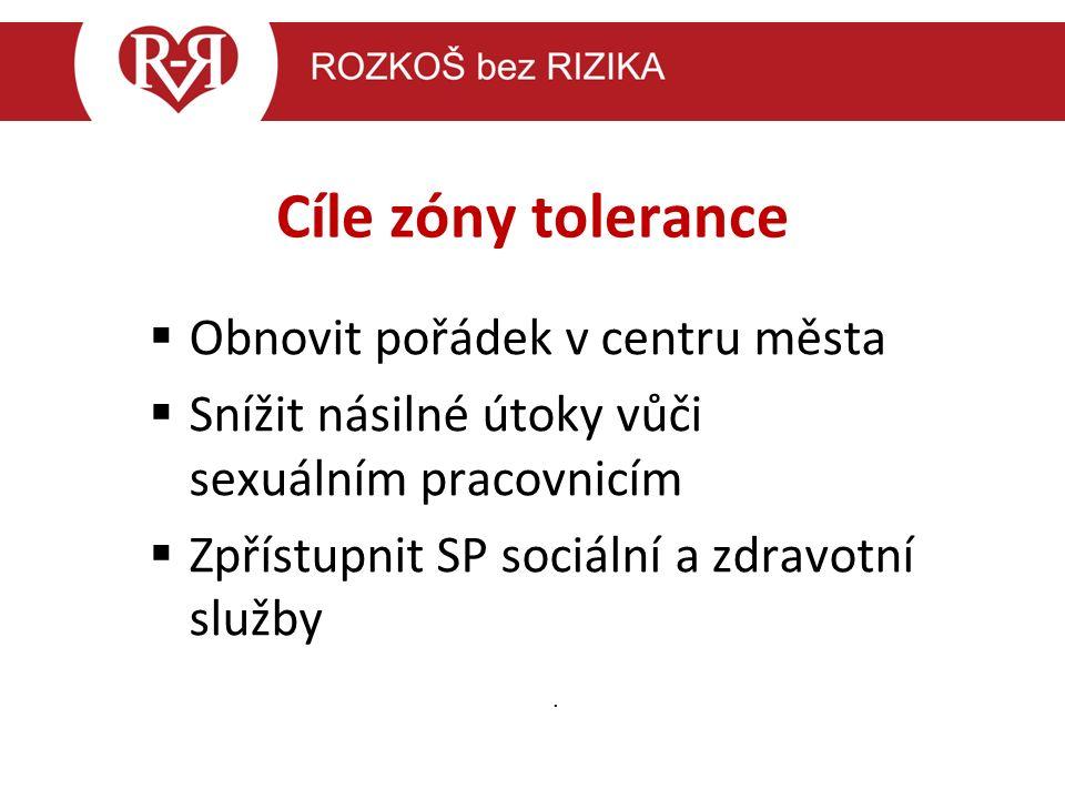 Cíle zóny tolerance  Obnovit pořádek v centru města  Snížit násilné útoky vůči sexuálním pracovnicím  Zpřístupnit SP sociální a zdravotní služby.