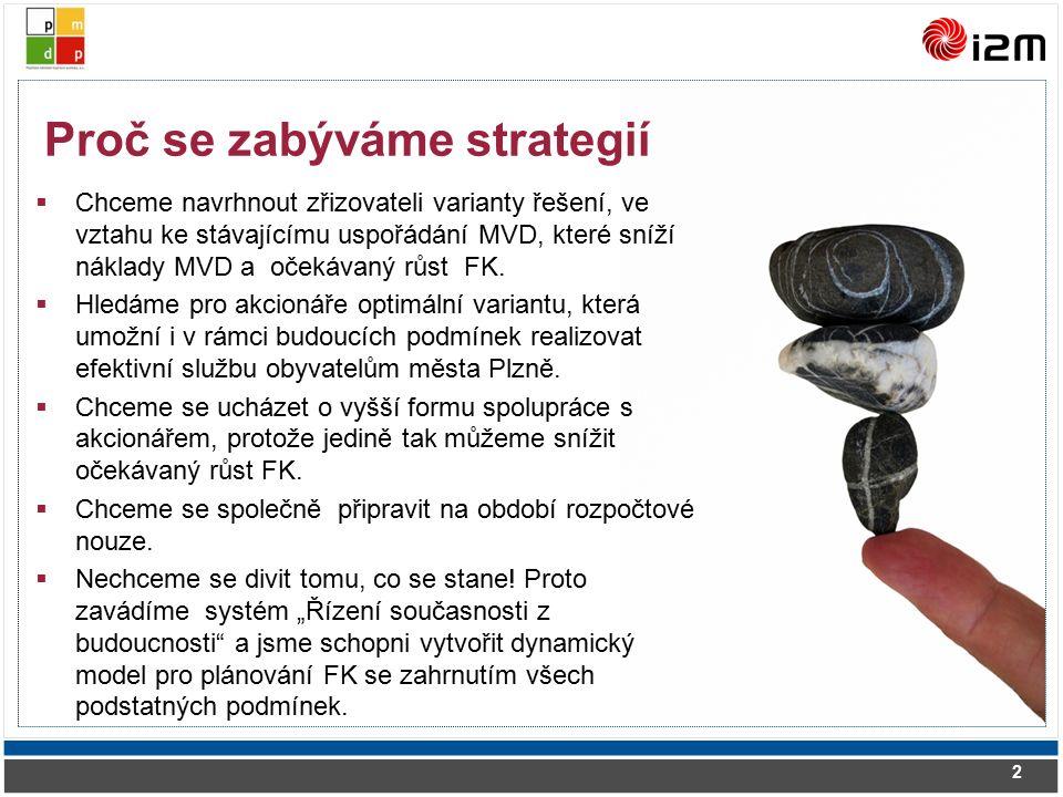 Chceme navrhnout zřizovateli varianty řešení, ve vztahu ke stávajícímu uspořádání MVD, které sníží náklady MVD a očekávaný růst FK.