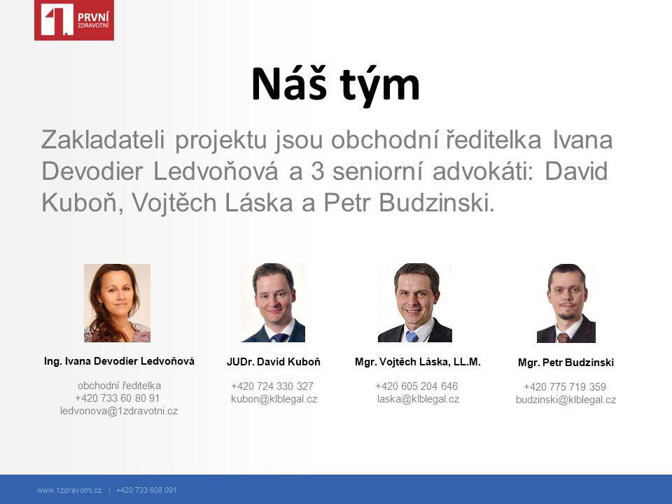 www.1zdravotni.cz | +420 733 608 091 Náš tým Zakladateli projektu jsou obchodní ředitelka Ivana Devodier Ledvoňová a 3 seniorní advokáti: David Kuboň, Vojtěch Láska a Petr Budzinski.