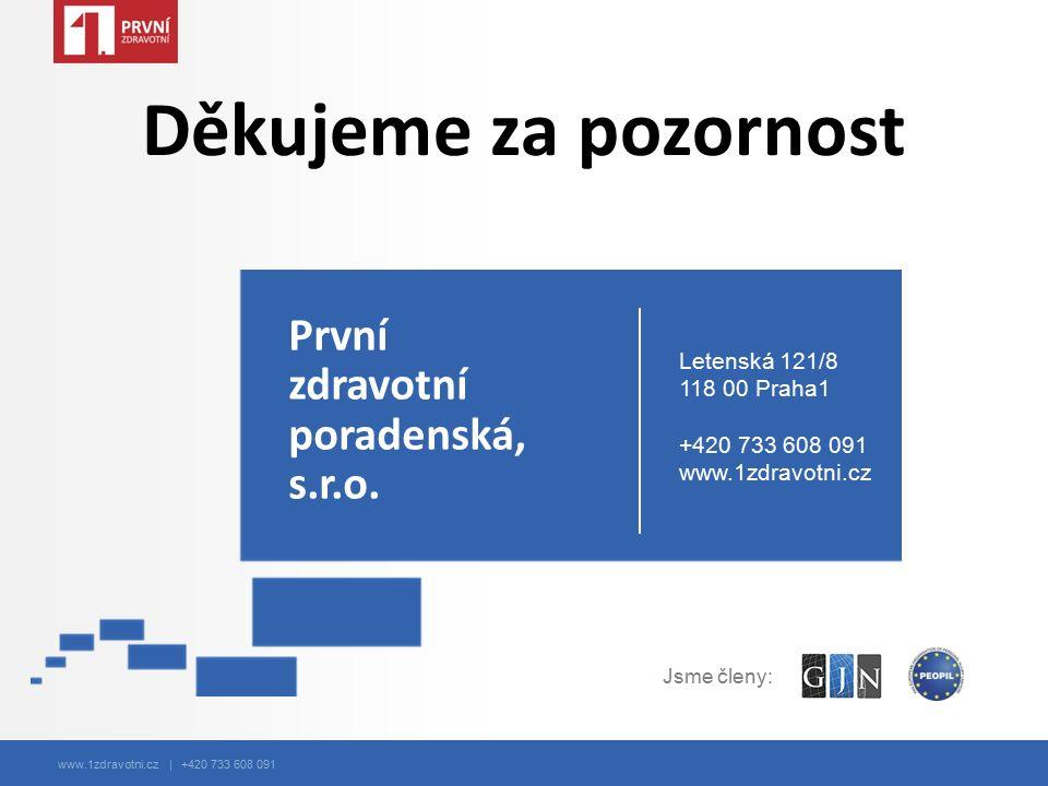 www.1zdravotni.cz | +420 733 608 091 Děkujeme za pozornost První zdravotní poradenská, s.r.o. Letenská 121/8 118 00 Praha1 +420 733 608 091 www.1zdrav