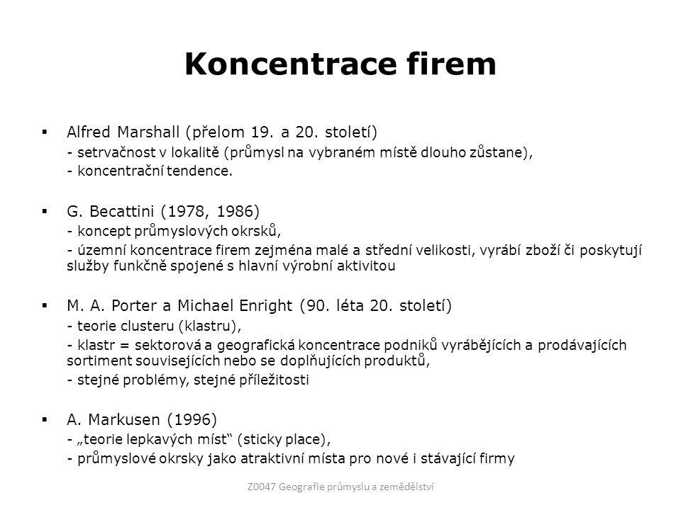 Koncentrace firem  Alfred Marshall (přelom 19. a 20.