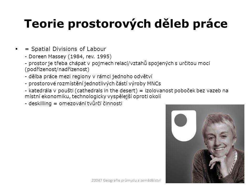 Teorie prostorových děleb práce  = Spatial Divisions of Labour - Doreen Massey (1984, rev.