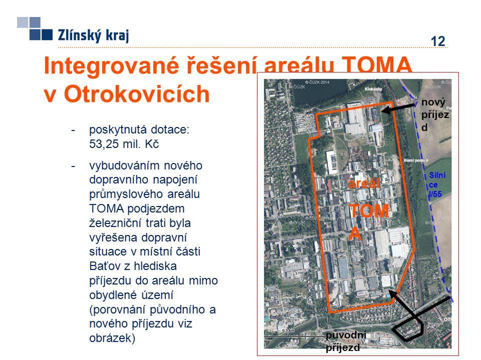 12 Integrované řešení areálu TOMA v Otrokovicích -poskytnutá dotace: 53,25 mil.