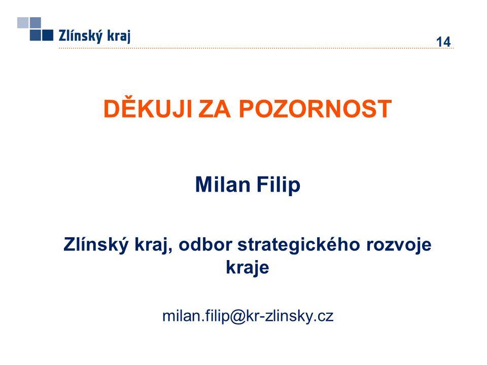 14 DĚKUJI ZA POZORNOST Milan Filip Zlínský kraj, odbor strategického rozvoje kraje milan.filip@kr-zlinsky.cz