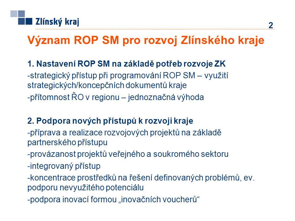 1. Nastavení ROP SM na základě potřeb rozvoje ZK -strategický přístup při programování ROP SM – využití strategických/koncepčních dokumentů kraje -pří