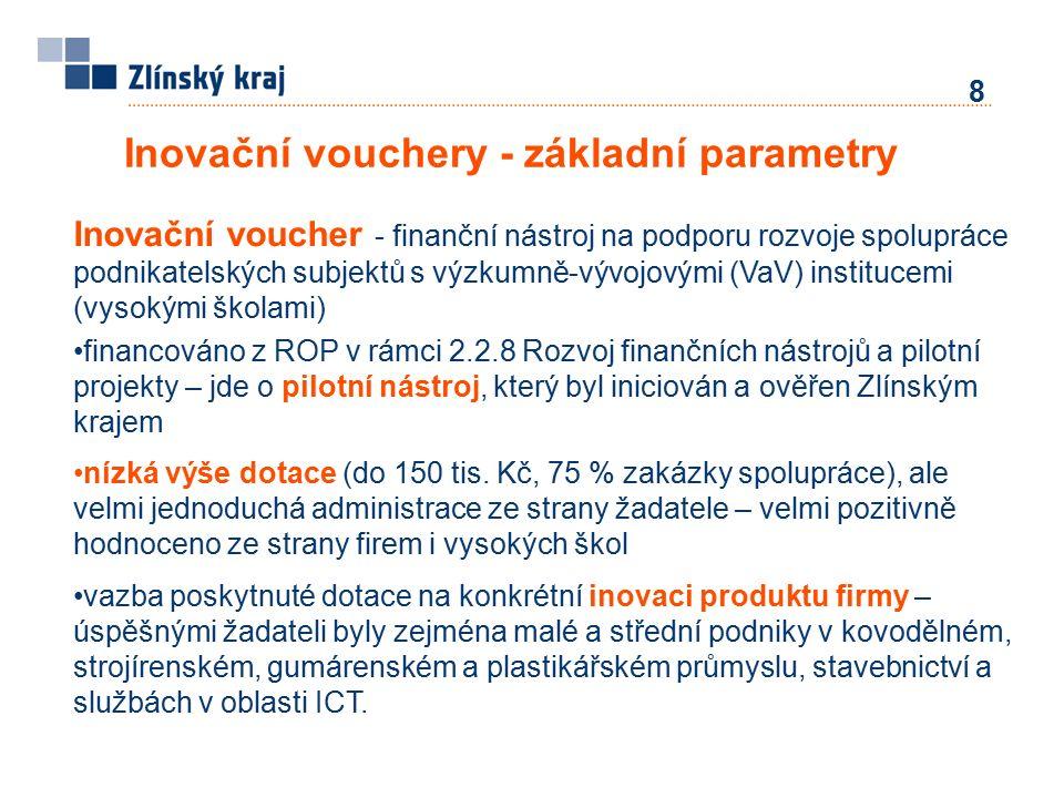 Inovační vouchery - základní parametry 8 Inovační voucher - finanční nástroj na podporu rozvoje spolupráce podnikatelských subjektů s výzkumně-vývojovými (VaV) institucemi (vysokými školami) financováno z ROP v rámci 2.2.8 Rozvoj finančních nástrojů a pilotní projekty – jde o pilotní nástroj, který byl iniciován a ověřen Zlínským krajem nízká výše dotace (do 150 tis.