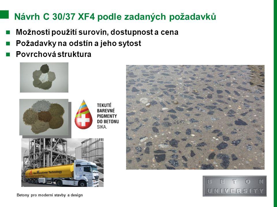 Návrh C 30/37 XF4 podle zadaných požadavků Možnosti použití surovin, dostupnost a cena Požadavky na odstín a jeho sytost Povrchová struktura Betony pr